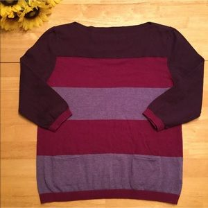 A.n.a Purple Striped Top, Size Small